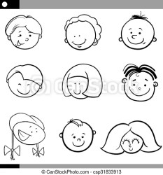 Cartoon boys and girls faces set Black and white cartoon illustration of cute children faces set CanStock