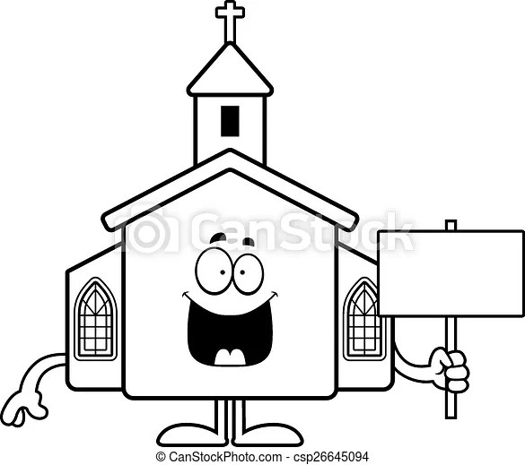Cartoon church sign. A cartoon illustration of a church