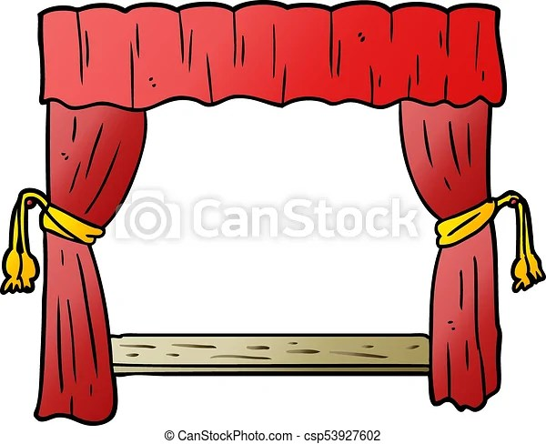 cartoon curtains opening onto