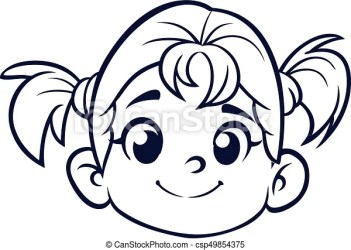 Cartoon cute girl face outlined vector illustration of a small girl CanStock