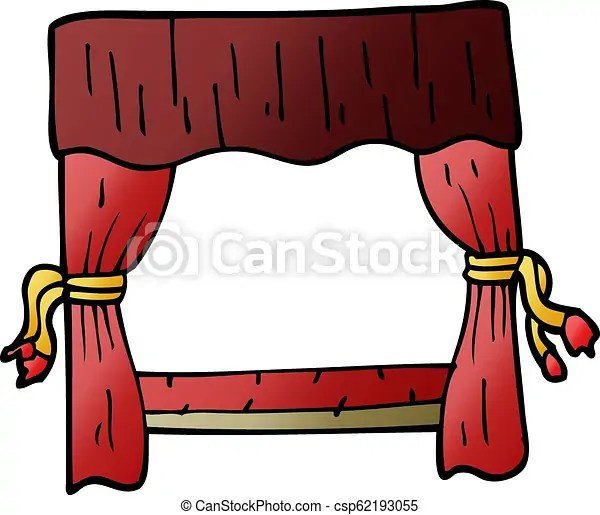 cartoon doodle stage curtains
