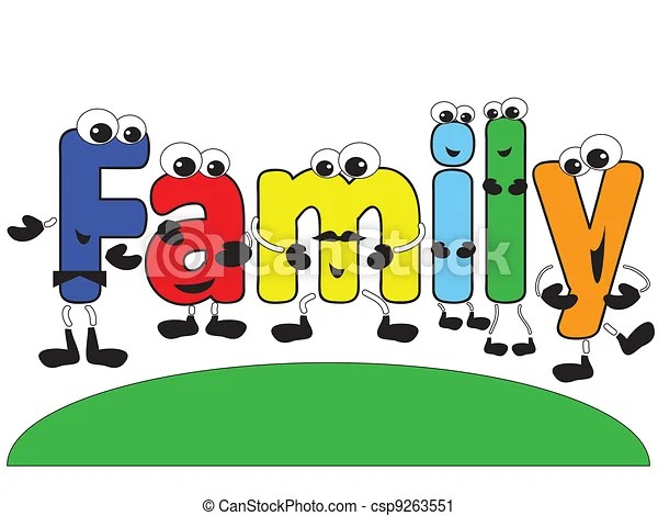 cartoon family. word family