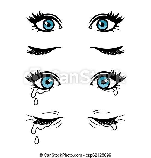 Cartoon female eyes. Wide open and closed vector cartoon