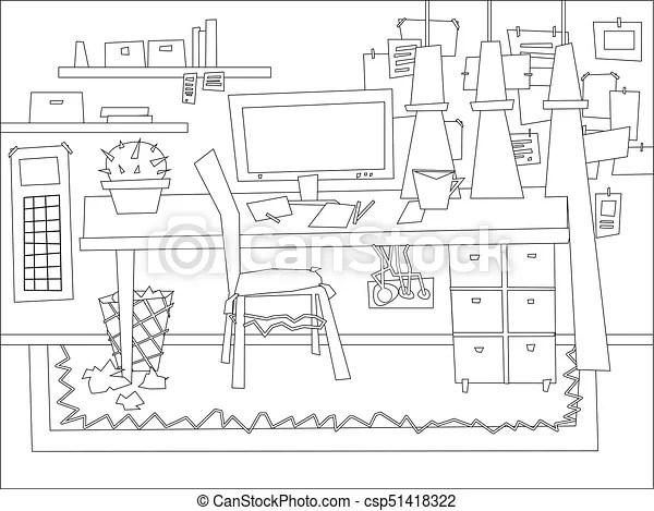 Cartoon flat interior work room coloring vector