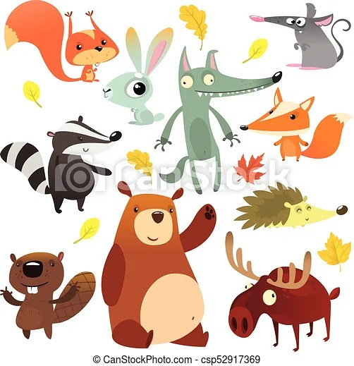 Cartoon Forest Animal Characters Wild Cartoon Cute Animals Collections Vector Big Set Of Cartoon Forest Animals Flat Vector