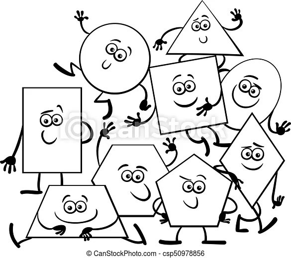 Cartoon geometric shapes coloring book. Black and white