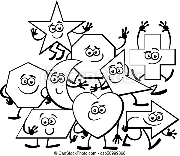Cartoon geometric shapes coloring page. Black and white