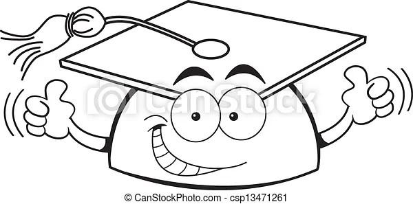 Cartoon graduation cap giving thumb. Black and white