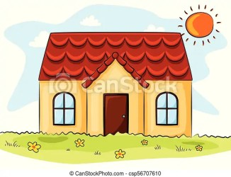 Vector illustration of cartoon house and the sun in the grass field CanStock