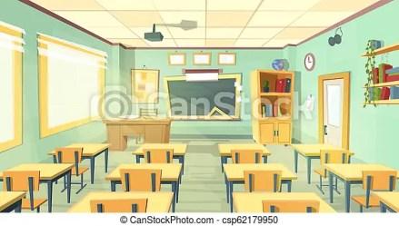Cartoon illustration of school classroom Cartoon background with empty classroom interior inside back to school concept