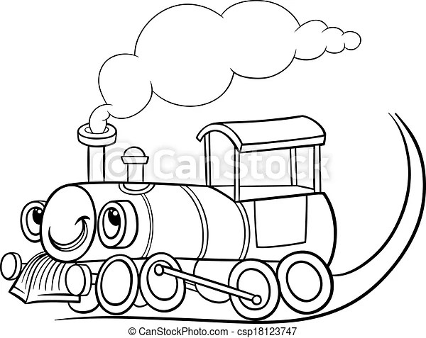 Cartoon locomotive or engine coloring page. Black and