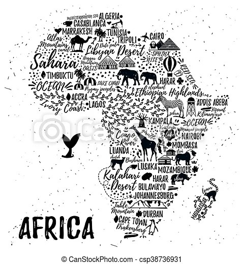 Cartoon map. vectoe illustration. Typography poster