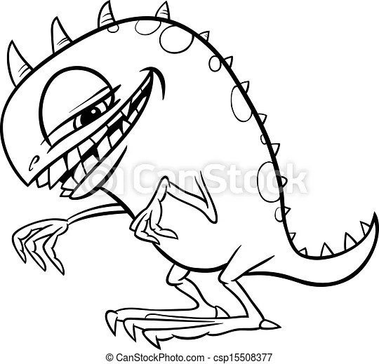 Cartoon monster illustration for coloring. Black and white