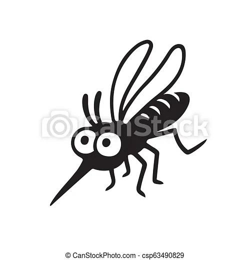 Cartoon mosquito drawing. Cartoon mosquito, simple black