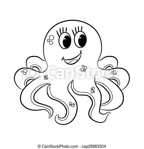 Cartoon octopus. outlined. vector illustration