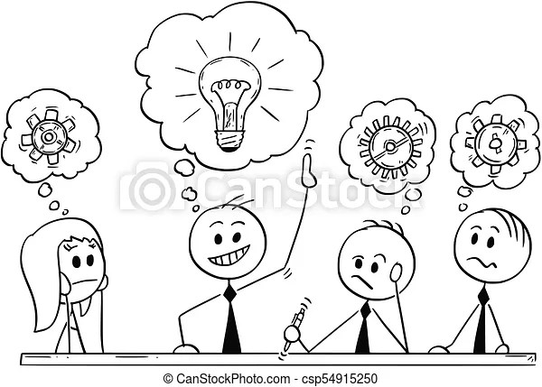 Cartoon of business team meeting and brainstorming