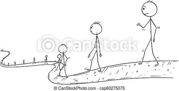 Cartoon of line of people or businessmen walking on the