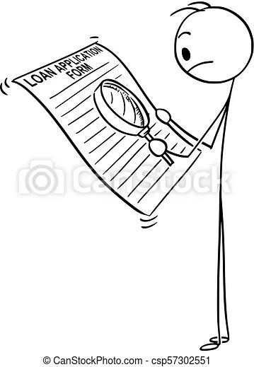 Cartoon of man or businessman reading loan application
