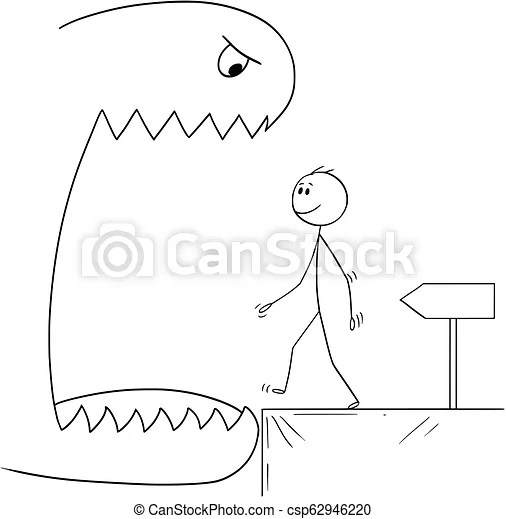 Cartoon of smiling man walking in to open mouth of a