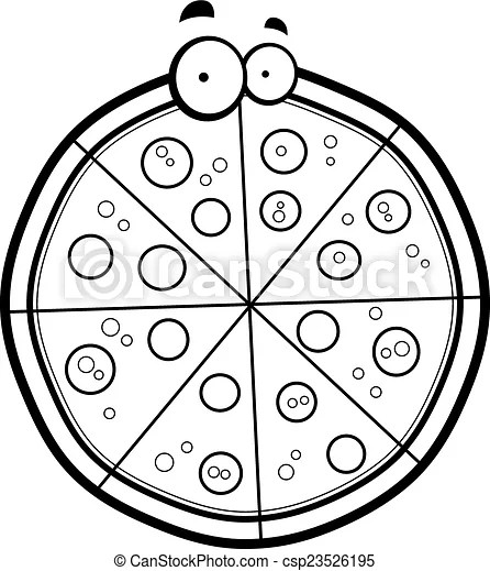 Cartoon pizza pie. A cartoon pepperoni pizza pie with eyes