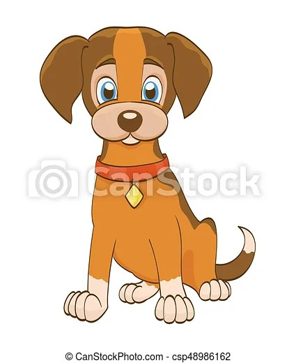 Cartoon Puppy Pictures : cartoon, puppy, pictures, Cartoon, Puppy, Collar, White., Vector, Illustration., CanStock