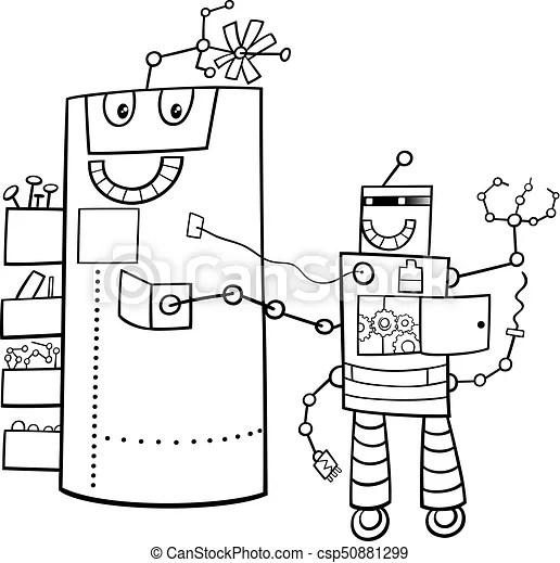 Cartoon robots fantasy characters color book. Black and