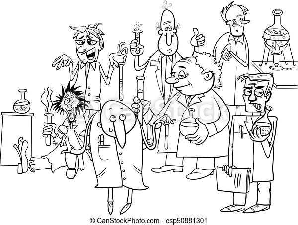 Cartoon scientists characters coloring book. Black and