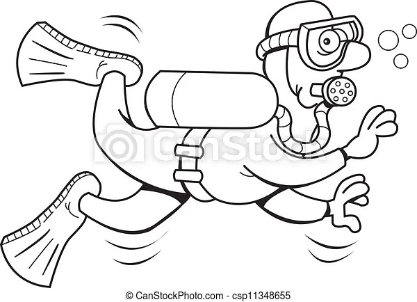 Cartoon scuba diver (black and whit. Black and white