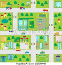 Illustration cartoon seamless city map CanStock