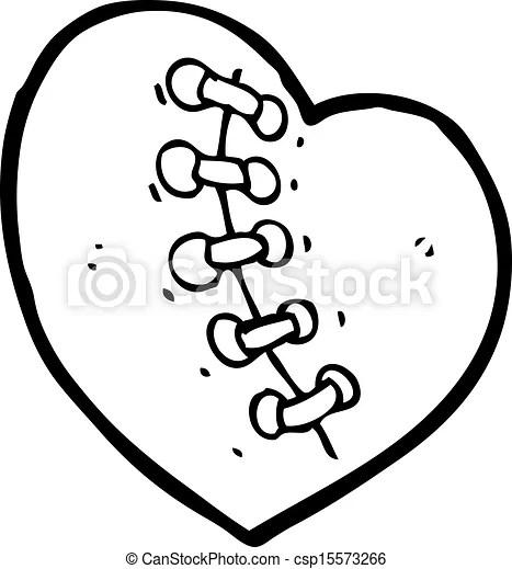Cartoon stitched black heart.