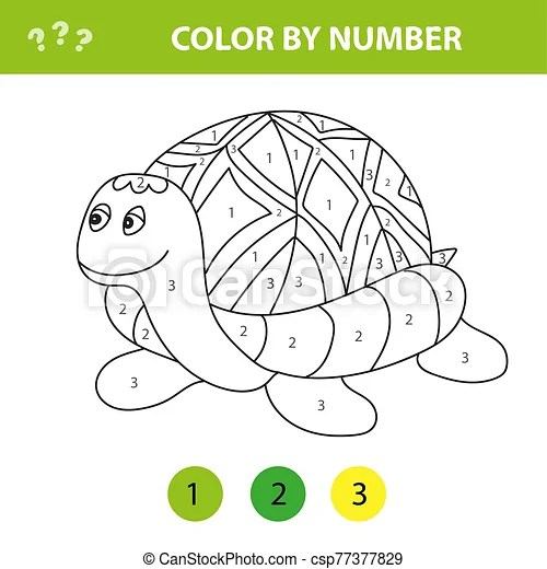 Cartoon Turtle Color By Number Educational Game For Kids Illustration For Schoolchild And Preschool