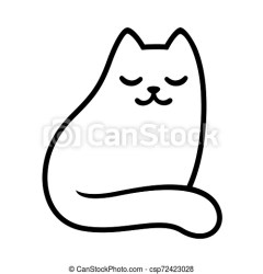Cartoon white cat drawing with closed eyes simple and minimal sitting sleeping cat doodle cute vector illustration CanStock