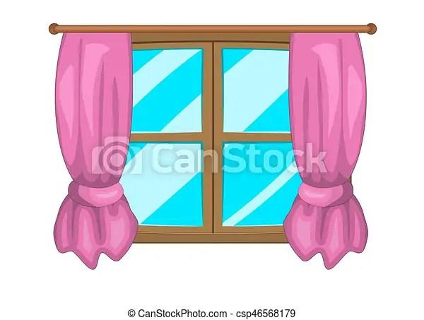 cartoon window with curtains