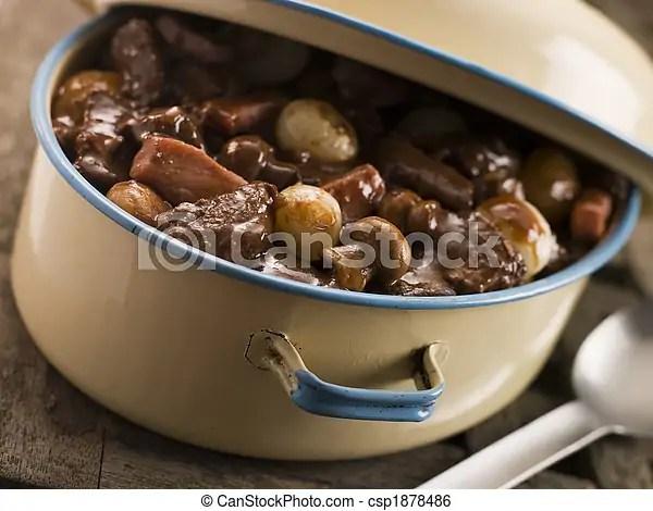 Casserole dish with beef bourguignonne.