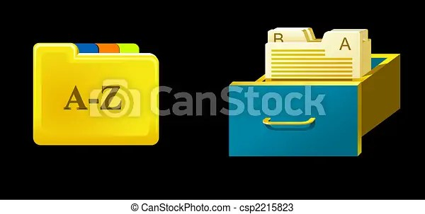 Catalog. Box and folder with documents.