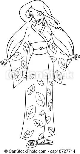 Caucasian woman in kimono coloring page. Vector