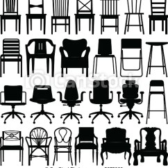 Chair Design Icons Wicker Cushion Covers Black Silhouette Set A Of Chairs Csp5675966