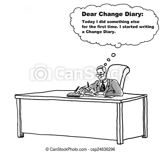 Change management diary. Cartoon of businessman living