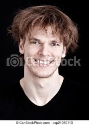 cheerful young man with crazy hair