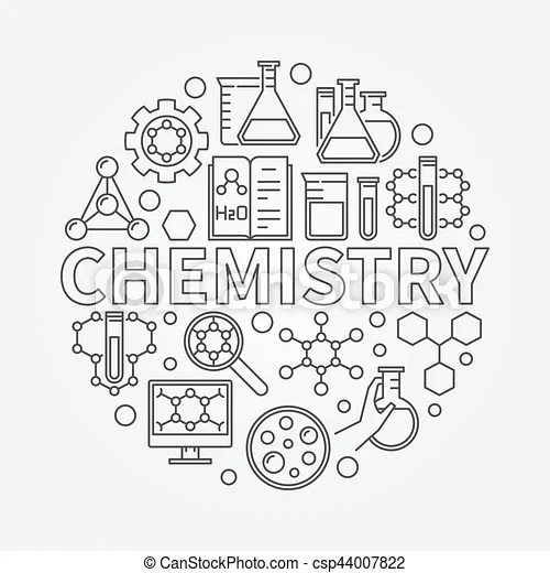 Chemistry line round illustration. vector outline science