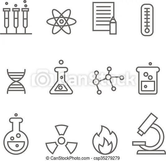 Chemistry science and bio technology line icons. biology