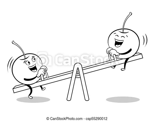Cherry on seesaw coloring book vector. Cherry on seesaw