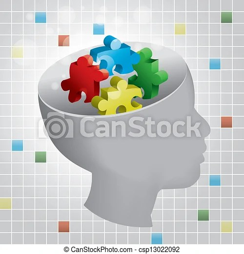 Child autism profile. Profiled head of a child with symbolic autism puzzle pieces.