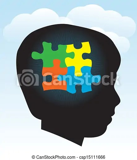 Child autism silhouette. A silhouette of a child with symbolic autism puzzle pieces. eps 10. transparencies used.