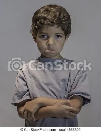 child pouting and sad