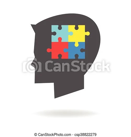 Children autism icon. Children head silhouette with colorful jigsaw puzzle symbolizing autism.