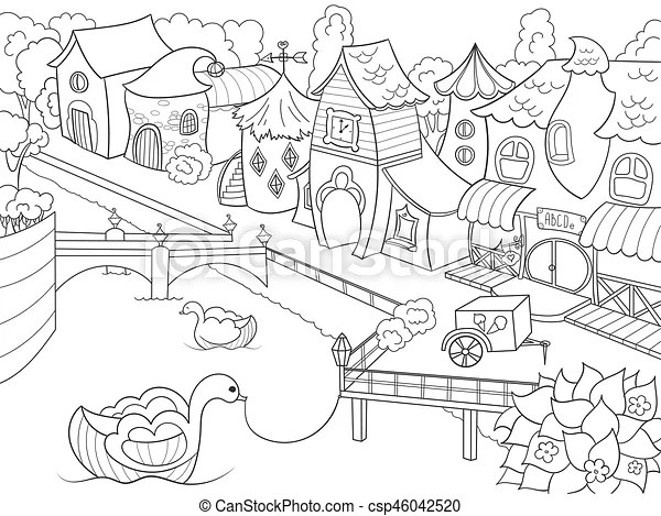 Children coloring vector fairy city with river zentangle