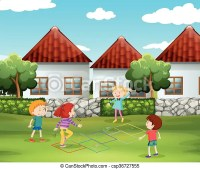 Children playing hopscotch in the yard illustration.