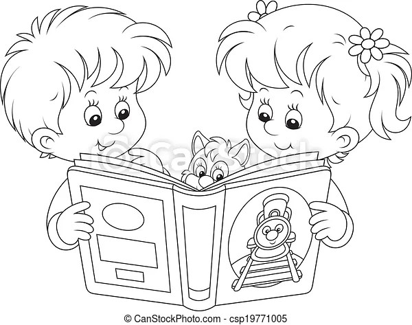 Children reading. Little girl and boy reading a book