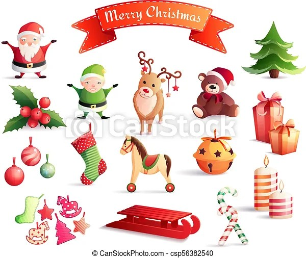 Christmas Cartoon Icons Set Set Of Cartoon Icons With Christmas Decorations Including Santa Year Tree Gifts Animals